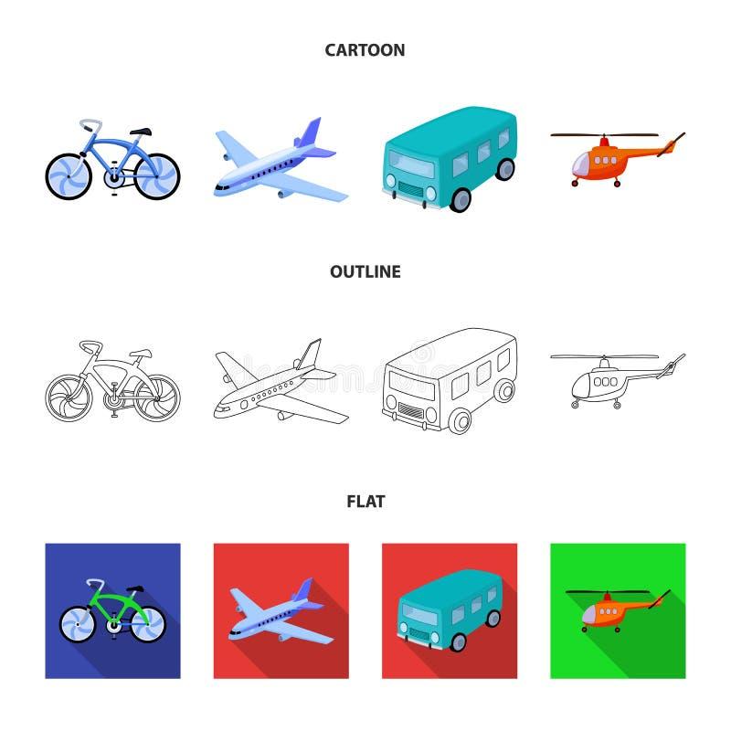 Bicicleta, avião, ônibus, tipos do helicóptero do transporte Ícones ajustados da coleção do transporte nos desenhos animados, esb ilustração do vetor