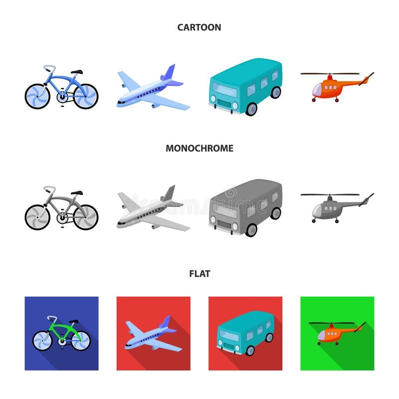 Bicicleta, avião, ônibus, tipos do helicóptero do transporte Ícones ajustados da coleção do transporte nos desenhos animados, est ilustração stock
