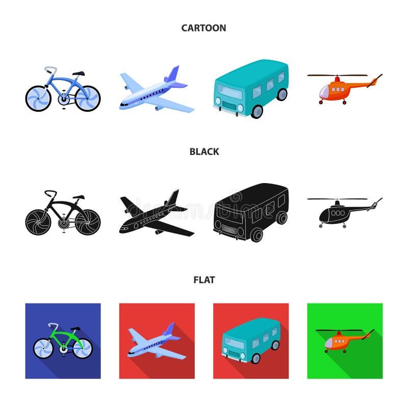 Bicicleta, avião, ônibus, tipos do helicóptero do transporte Ícones ajustados da coleção do transporte nos desenhos animados, pre ilustração royalty free
