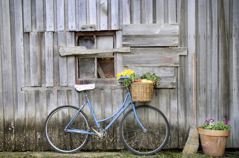 Bicicleta azul vieja foto de archivo libre de regalías