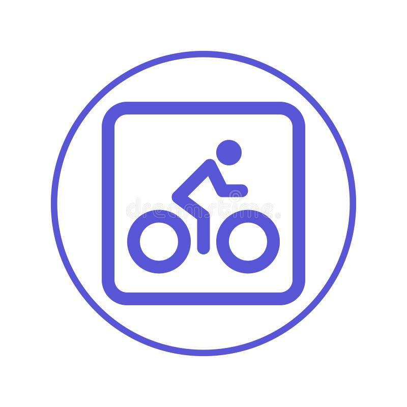 Bicicleta Bicicleta, linha circular de ciclagem ícone Sinal redondo Símbolo liso do vetor do estilo ilustração stock