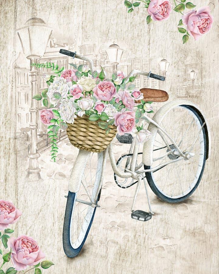 Bicicleta blanca de la acuarela con las rosas ilustración del vector