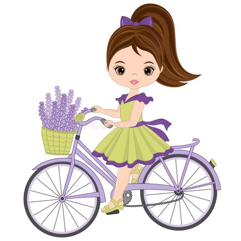 Bicicleta bonito da equitação da menina do vetor Menina do vetor com alfazema ilustração royalty free