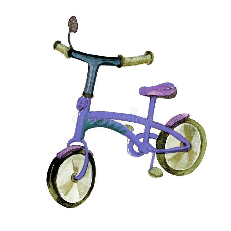Bicicleta colorida tirada m?o da crian?a da ilustra??o da aquarela no fundo branco para o projeto saud?vel do estilo de vida ilustração do vetor