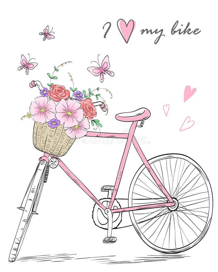 Bicicleta com uma cesta completamente das flores no fundo com borboletas e inscrição eu amo minha bicicleta ilustração do vetor