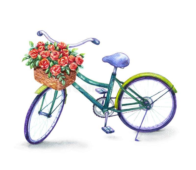 Bicicleta con la cesta de las rosas rojas libre illustration