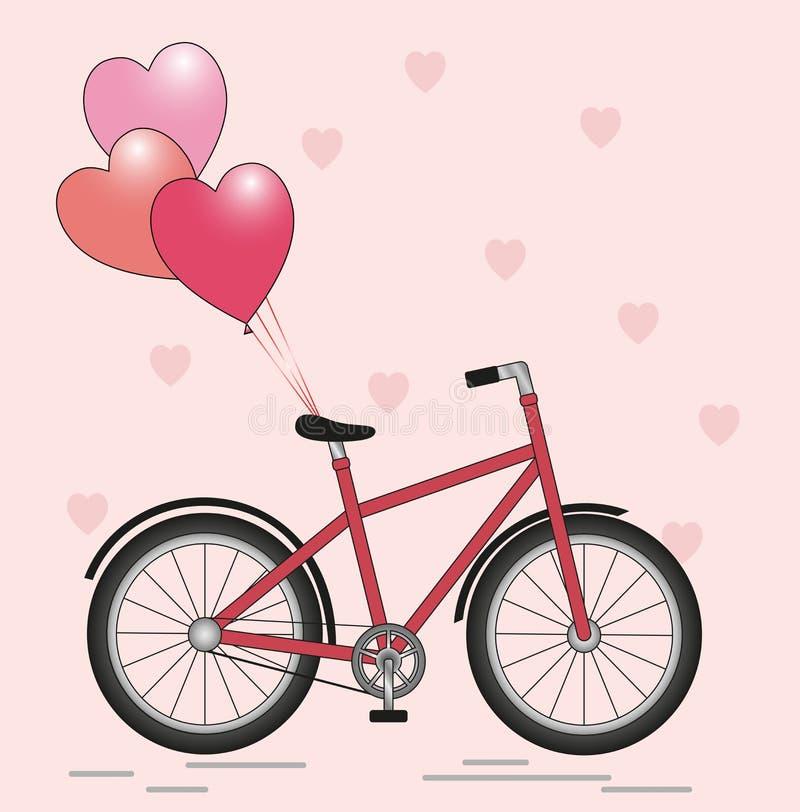 Bicicleta con los globos stock de ilustración