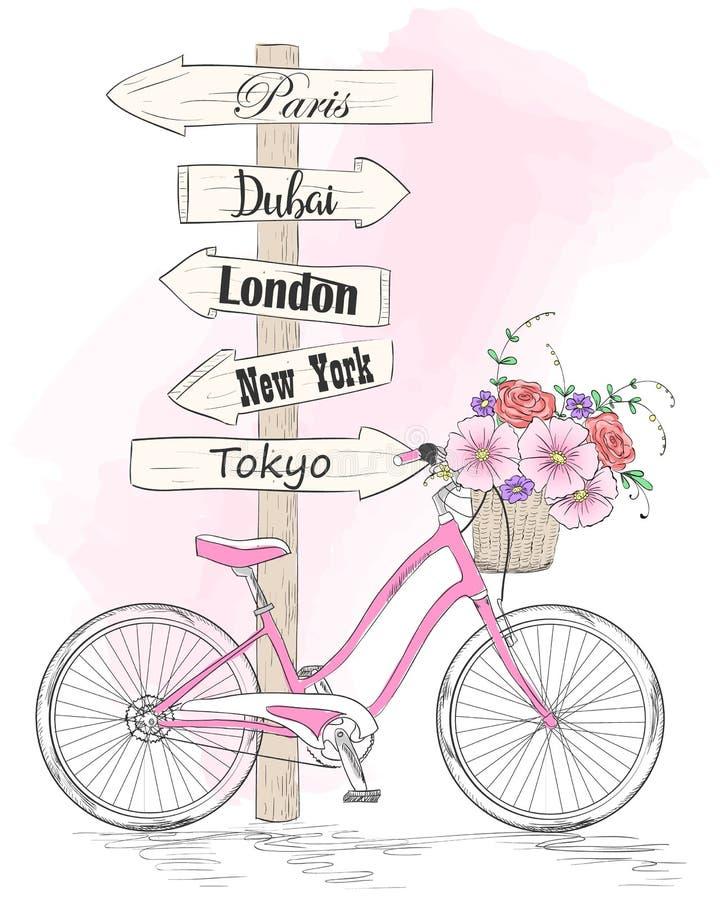 Bicicleta con una cesta por completo de flores en fondo con las mariposas e inscripci?n amo mi bici ilustración del vector