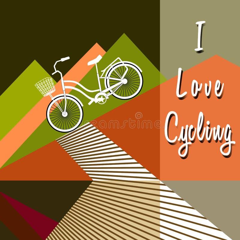 A bicicleta conduz para baixo das montanhas estilizados ao trajeto ilustração royalty free