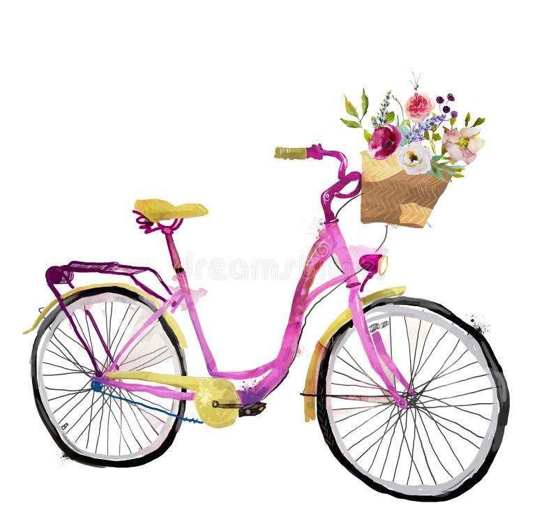 Bicicleta cor-de-rosa bonito da aquarela ilustração royalty free