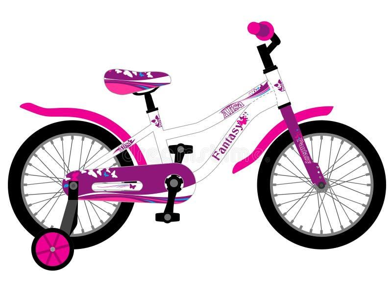 Bicicleta cor-de-rosa das crianças femininos fotografia de stock royalty free