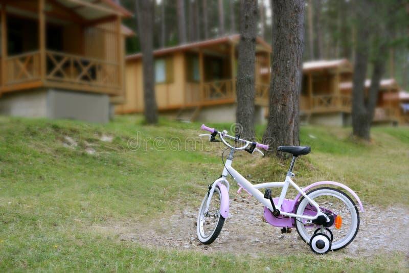 Bicicleta cor-de-rosa de Chidren na montanha de madeira da cabine imagens de stock