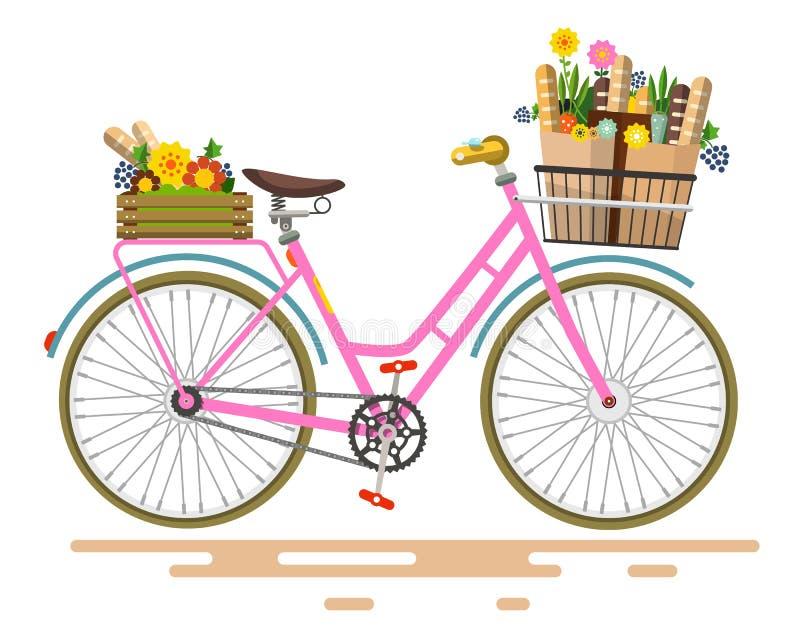 Bicicleta cor-de-rosa do vetor ilustração stock