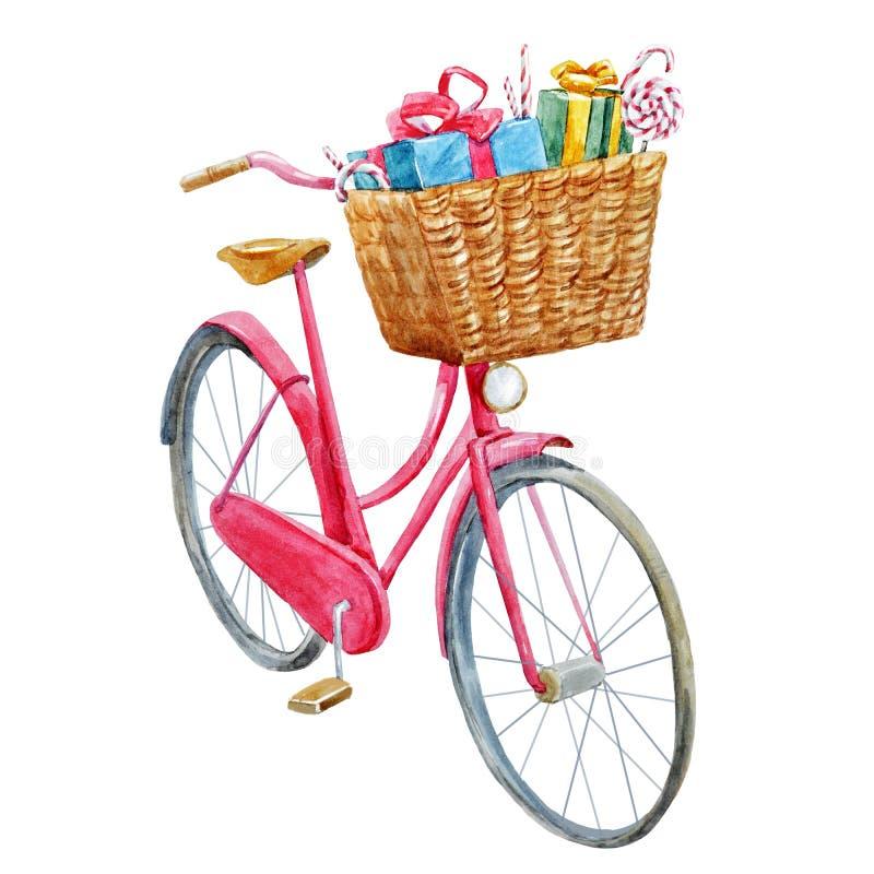 Bicicleta da aquarela com presentes ilustração do vetor
