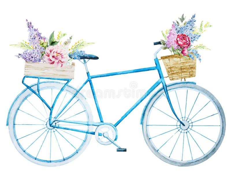 Bicicleta da bicicleta da aquarela ilustração do vetor