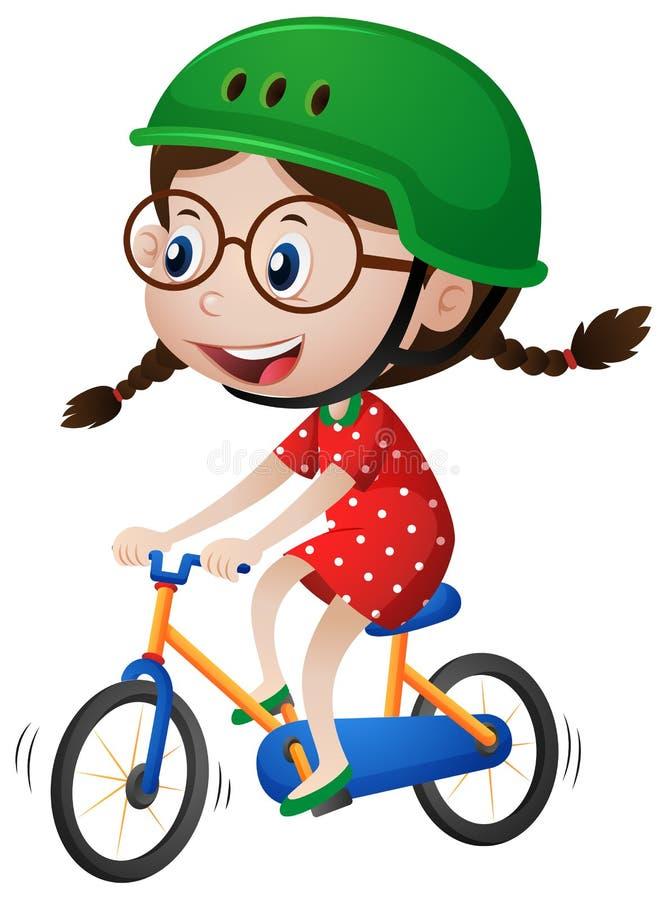 Bicicleta da equitação da menina com capacete sobre ilustração stock
