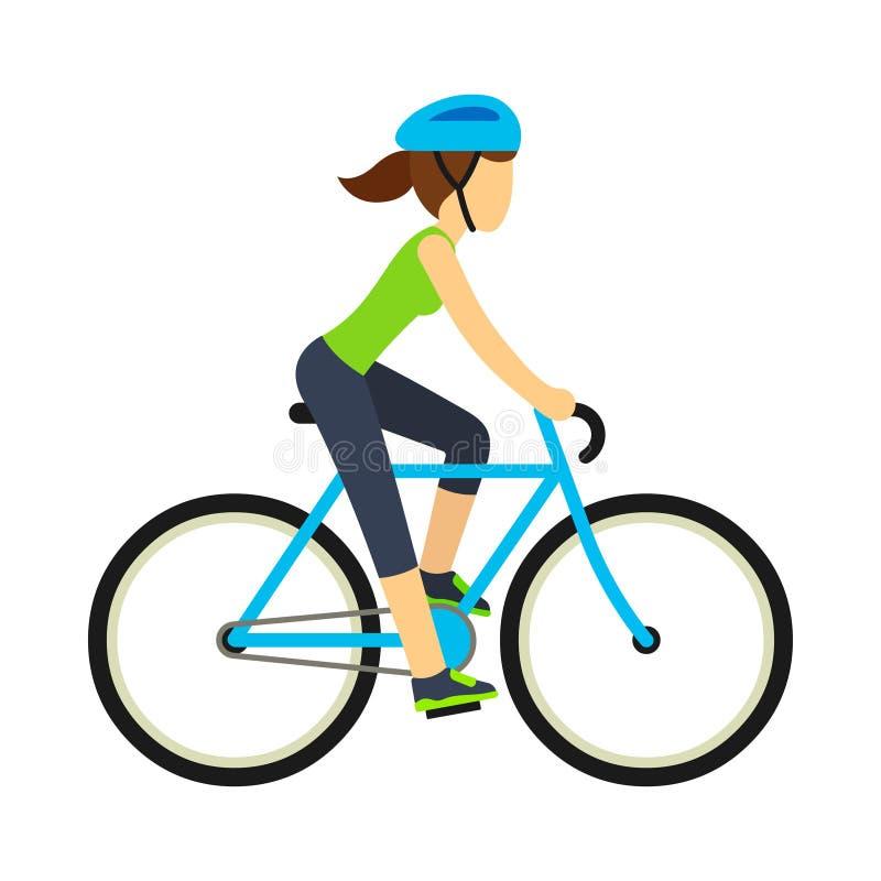 Bicicleta da equitação da mulher ilustração do vetor