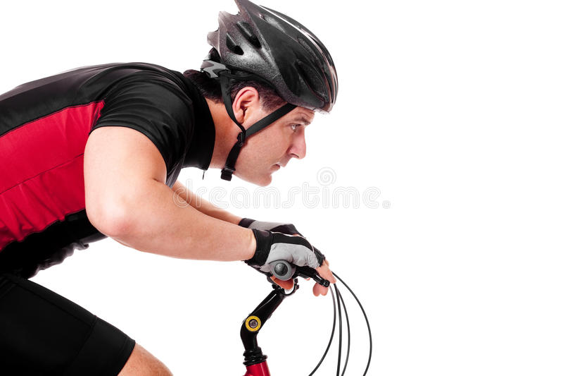 Bicicleta da equitação do ciclista fotografia de stock