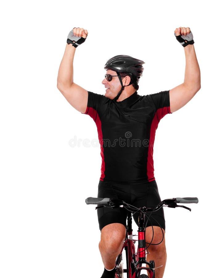 Bicicleta da equitação do ciclista imagens de stock royalty free