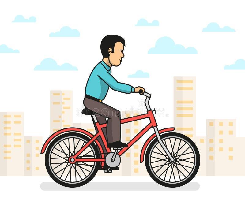 Bicicleta da equitação do homem na cidade ilustração stock