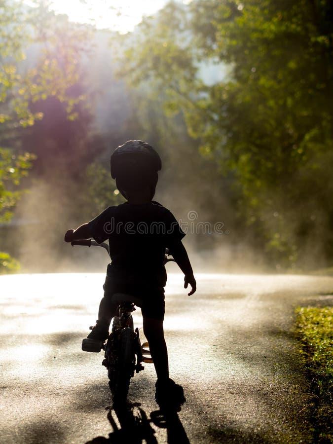Bicicleta da equitação do menino na névoa imagem de stock royalty free
