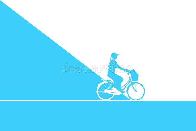 Bicicleta da equitação da mulher ilustração royalty free