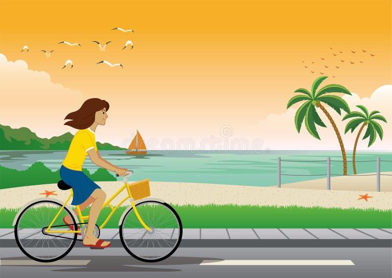 Bicicleta da equita??o da menina na praia ilustração do vetor