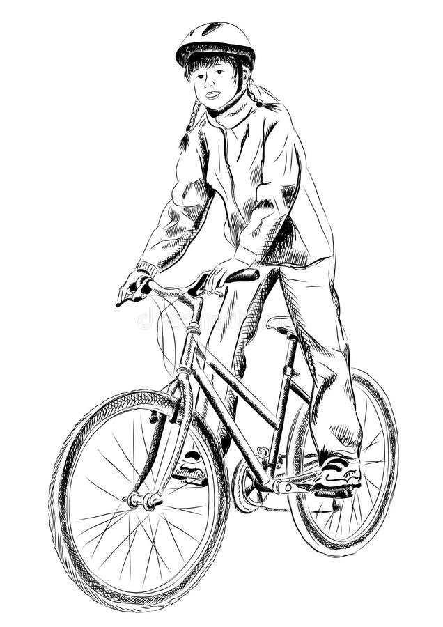 Bicicleta da menina ilustração royalty free