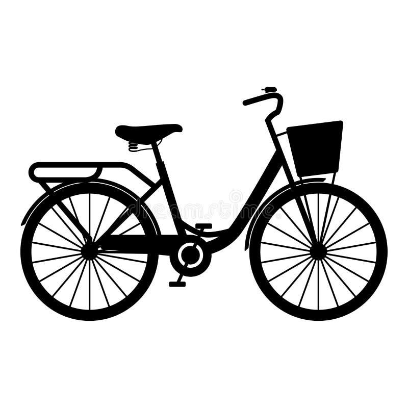 A bicicleta da mulher com vetor de cruzamento da cor do preto do ícone da estrada das senhoras da cesta da bicicleta do vintage d ilustração royalty free