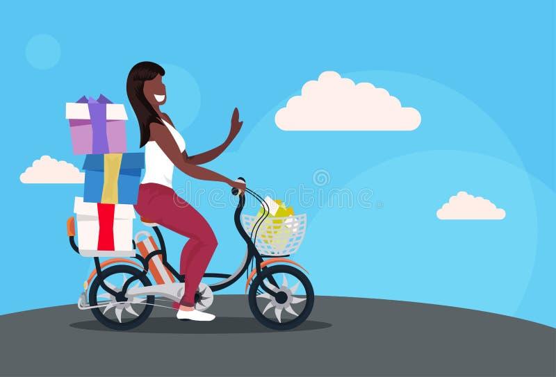 Bicicleta de ciclagem da mulher que leva a bicicleta afro-americano envolvida da equitação da menina do conceito da celebração do ilustração do vetor