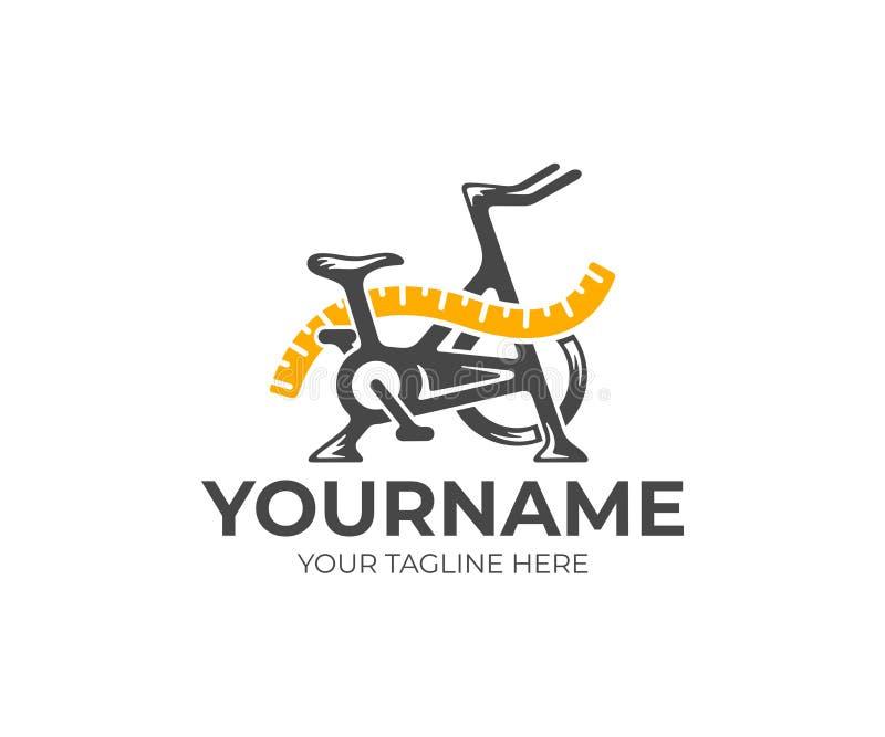 Bicicleta de exercício e fita de medição, aptidão e dieta, projeto do logotipo Gym, esporte, fita métrica e dieta, projeto do vet ilustração royalty free