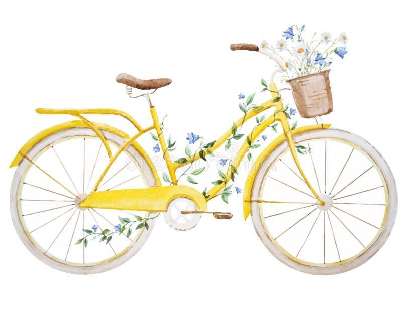 Bicicleta de la bici de la acuarela stock de ilustración