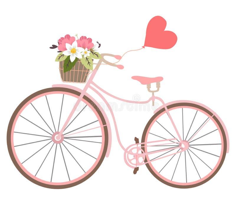 Bicicleta de la boda del vintage con el baloon del corazón y las tarjetas del día de San Valentín de las flores stock de ilustración