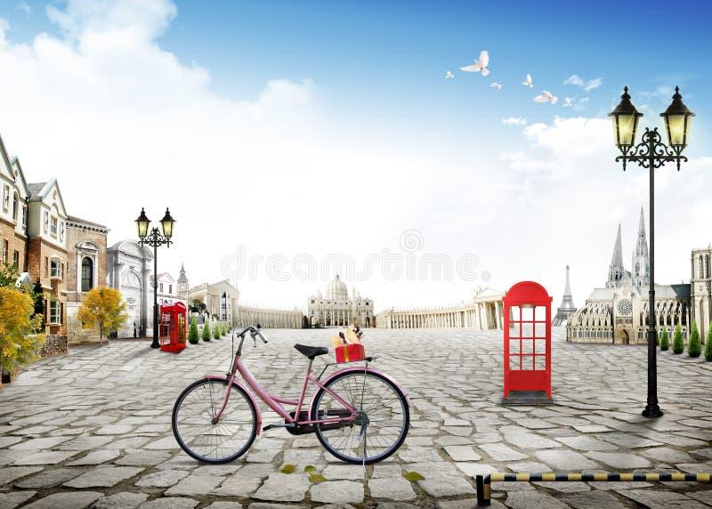 bicicleta de la calle de la paloma de la paz del cielo azul de la visión 3d con el polo de iluminación y atracciones de París e I stock de ilustración