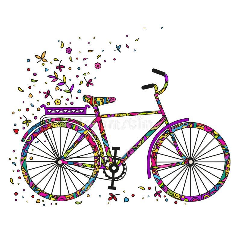 Bicicleta de la historieta con las flores y las hojas El garabatear colorido Vector aislado en el fondo blanco libre illustration