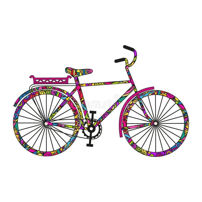 Bicicleta de la historieta El garabatear colorido Vector aislado en el fondo blanco stock de ilustración