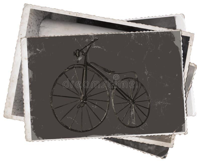 Bicicleta de madeira velha das fotos do vintage imagem de stock
