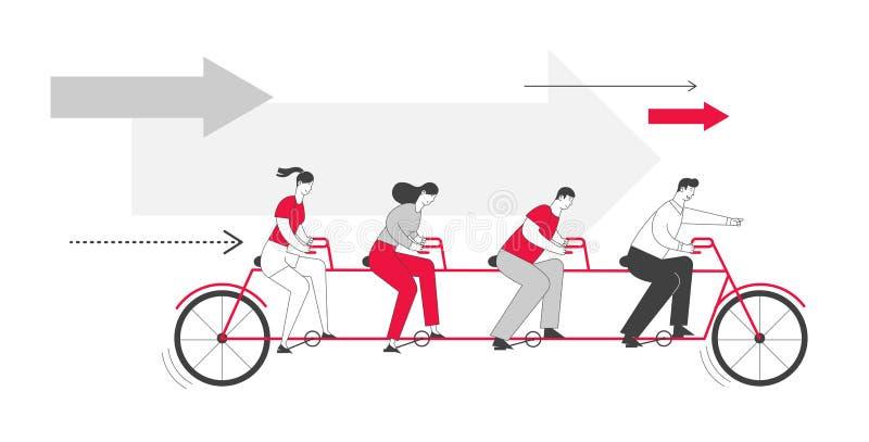 Bicicleta de Tandem da Equipe de Negócios Profissionais e empresárias personagens sobre liderança na cooperação em bicicleta ilustração do vetor