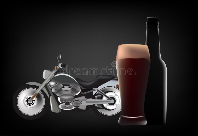 Bicicleta de turismo com vidro e garrafa de cerveja escura ilustração royalty free