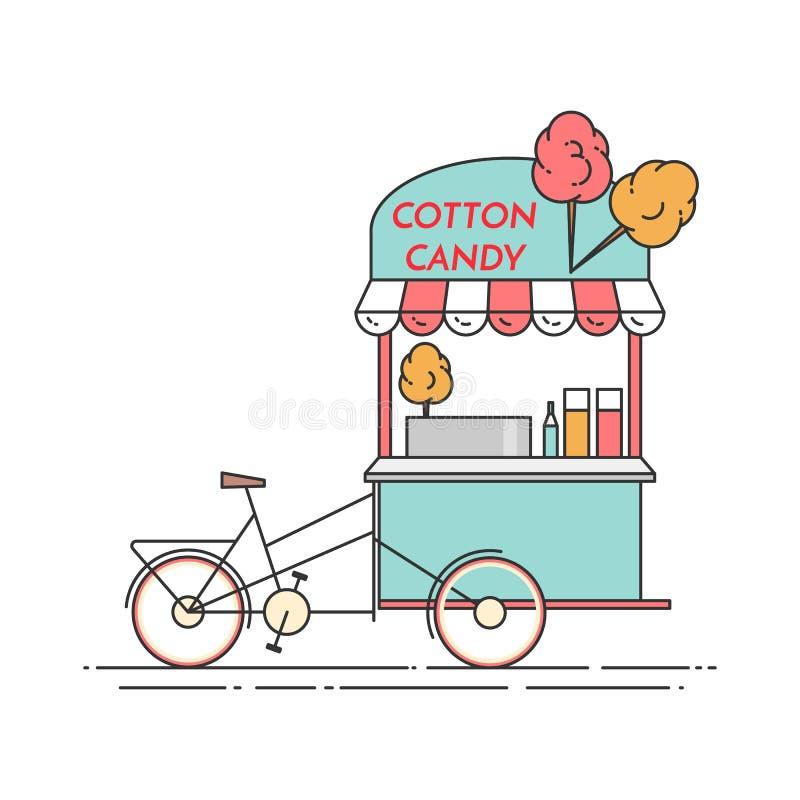 Bicicleta del caramelo de algodón Carro en las ruedas Comida y quiosco de la bebida Ilustración del vector Línea arte plana libre illustration