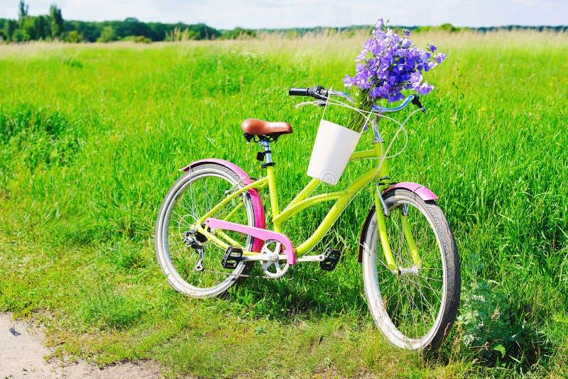 Bicicleta del crucero con la cesta de la flor imagen de archivo