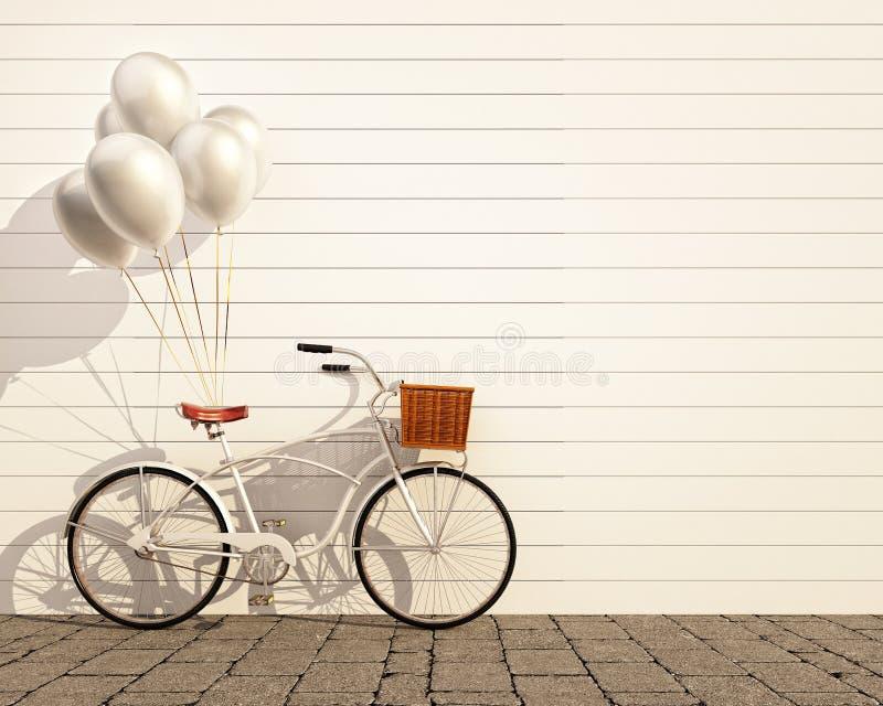 Bicicleta del inconformista del vintage con el globo delante de la pared imagen de archivo