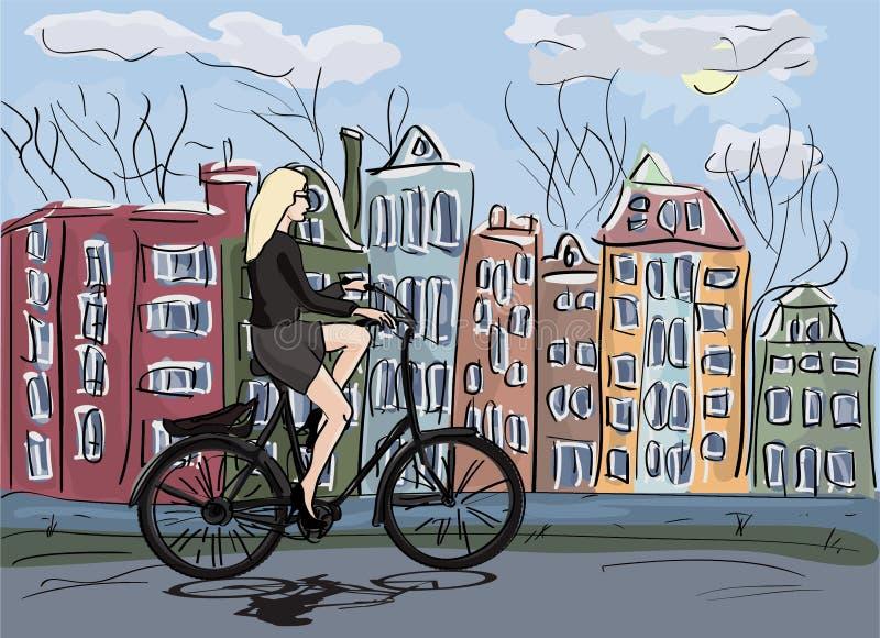Bicicleta del montar a caballo de la mujer en Amsterdam ilustración del vector