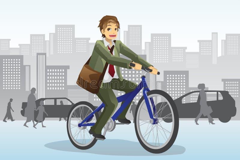 Bicicleta del montar a caballo del hombre de negocios ilustración del vector
