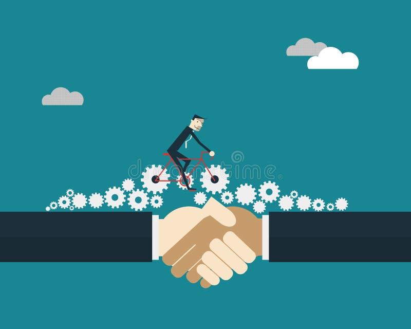 Bicicleta del montar a caballo del hombre de negocios con los engranajes sobre los hombres de negocios que sacuden las manos ilustración del vector