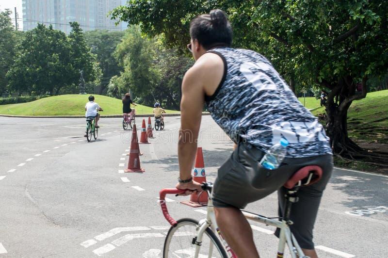 Bicicleta del paseo del hombre imagen de archivo libre de regalías