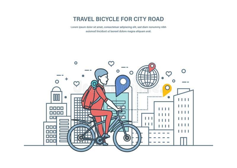 Bicicleta del viaje para el camino de ciudad Forma de vida sana, actividades al aire libre stock de ilustración