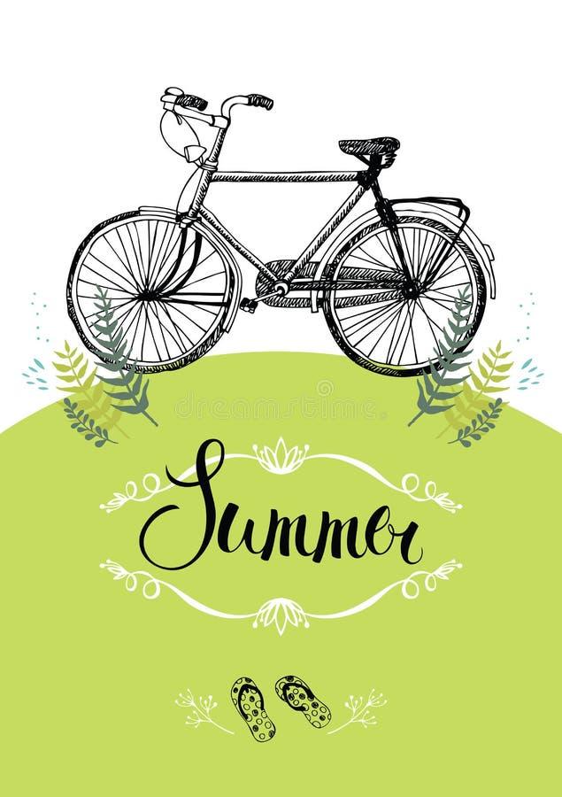 Bicicleta del vintage. Tarjeta del diseño con la ilustración y la caligrafía stock de ilustración