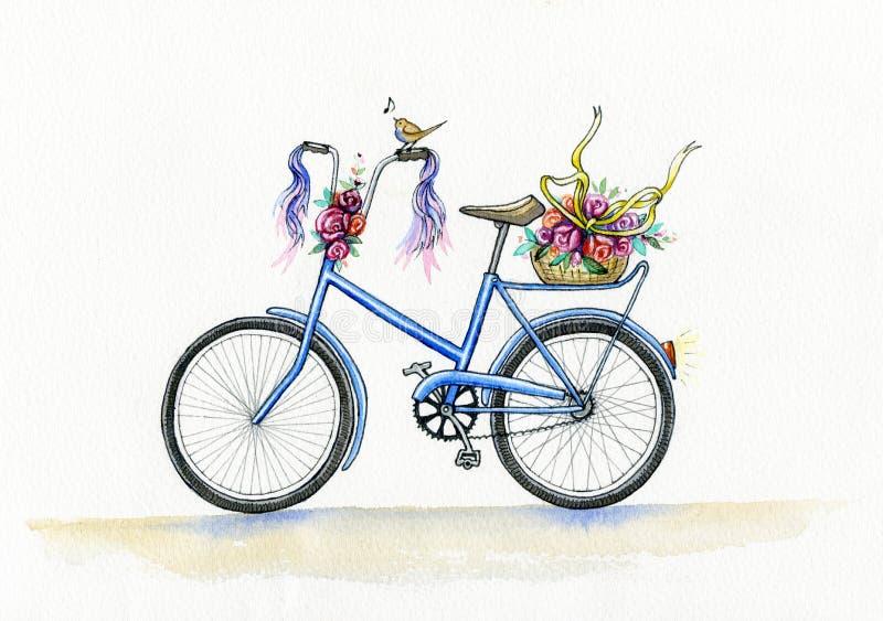 Bicicleta do azul da aquarela ilustração royalty free