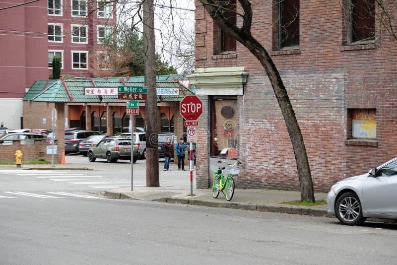 Bicicleta do cal bairro chinês em Seattle, Washington, EUA fotos de stock royalty free